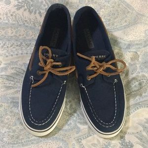 Navy and White Sperrys Top Siders